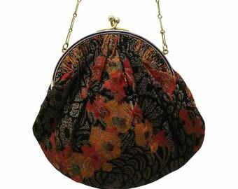 1920s Floral Lamé and Blue Enamel Frame Vintage Handbag