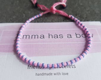 Delicate Freundschaftsbändchen in pink / blue white striped