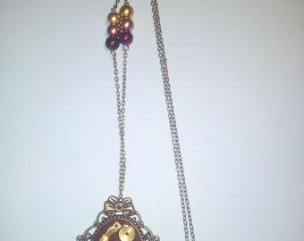 Red and bronze steampunk style necklace