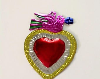 Tin Heart Plaque Handmade Mexican Tin Wall Ornament Mexican Folk Art Recycled Art Hammered