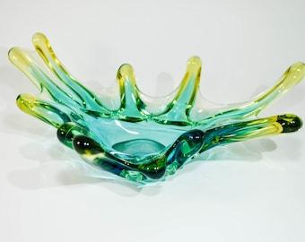 Art Glass Bowl, Decorative Green Bowl, Fruit Vase, Horned Art Glass Vase, Murano Style Slass, Handblown