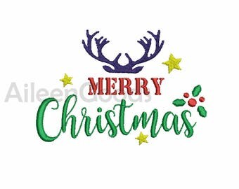 Merry Christmas Embroidery design 7 Size  INSTANT download machine embroidery