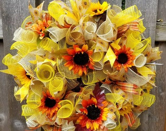 Sunflower Wreath, Fall Wreath, Fall Front Door Wreath,   Fall Deco Mesh Wreath, Front Door Wreath Fall, Harvest Wreath, Fall Door Decor
