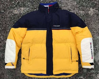 Vintage Tommy Hilfiger Down Puffer Color Jacket Block Spell out size. M