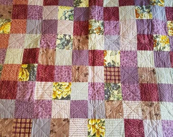 Incredible Handmade Patchwork Quilt - Purples Pinks Floral - Vintage and Modern Fabrics - Picnic Bed Baby Couch Vintage Fabric