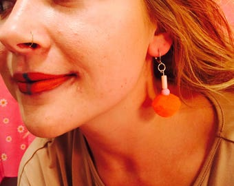 Handmade Orange and Pink Dangle Earrings With Poms