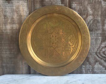 Vintage Brass Etched Serving Tray // 1980's // Brass Serving Tray/Room Decor/ Wall Hanging