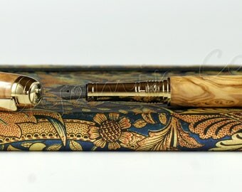 Hand Made Engravable & Customisable Olive Wood Fountain Pen - Bock Titanium #5 Nib