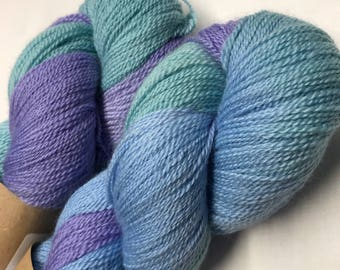 100g Extra fine merino / silk lace weight yarn, 80/20% 600 metres, hand dyed in scotland, lilac, turquoise, blue variegated
