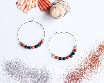 Hoop earrings MAELA - Silver 925 and semi precious stone - JOYCE Collection (minimalist, modern, red and blue)