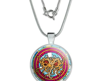 "Flying Spaghetti Monster Stained Glass 1"" Pendant with Sterling Silver Plated Chain"