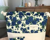 Sturdy large Liberty London rose print Knitting Project bag with  mini notions pouch!