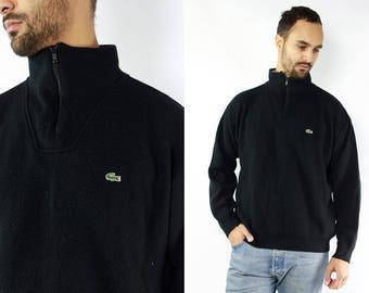 Black Lacoste Sweater / Lacoste Jumper Black / Lacoste Wool Sweater / Vintage Lacoste Sweatshirt / Lacoste Wool Jumper / Quarter Zip Sweater