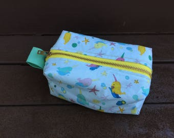 Narwhale Print Boxy Pouch