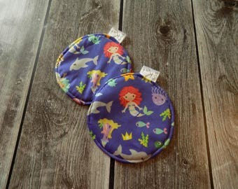 Washable nursing pads, Maternity, Reusable Breasts pads, Mermaids