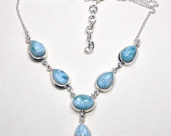 """Gemstone Real Larimar necklace ,genuine larimar pear necklace ,Y-Shaped,atlantic stone silver gift for girlfriend gift for wife 22"""" X954"""