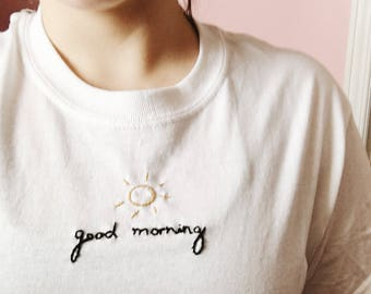 Good morning embroidered t-shirt