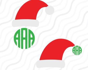 Santa Hat SVG, Christmas SVG, Santa Hat Monogram SVG Cut table Design,svg,dxf,png Use With Silhouette Studio & Cricut_Instant Download