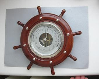 Vintage Swedish mahogany wood Aneroid Barometer in Ship's Wheel