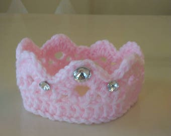 Newborn Crochet Princess Crown, Crochet Baby Crown, Newborn Tiara Headband, Newborn Crown Prop