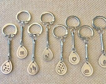 Hand stamped keychains, cactus keychain, arrow keychain, flower keychain, heart keychain, feather keychain, succulent keychain, star, camper