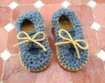 Crochet boat shoes - 6-9 months