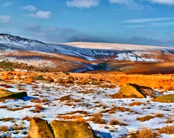 print of Dartmoor  in Winter near Princetown