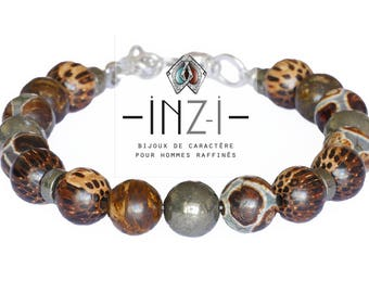 Men's bracelet made of wood, agate, pyrite and bronzite 10mm INZ - I - model FONZI