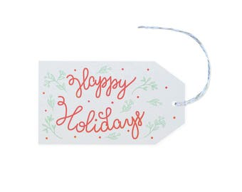 Happy Holidays - 10 Letterpress Printed Gift Tags
