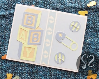 Handmade Baby Boy Button Card