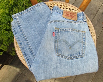 90s Levis 501/ 29 / 4 Faded Button Fly 1990s Classic Straight Leg Jeans 29 x 32