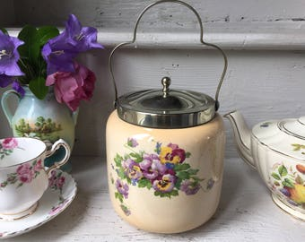 Beautiful vintage biscuit barrel, cookie jar, biscuit jar, biscuit holder, ceramic, pottery circa 1929, military stamp