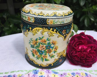 Vintage Daher tin box company, canister, floral, round caddy, decorative tin, storage, collectible
