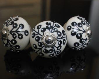 Black white Ceramic knob poignées de meubles Cabinet Möbelknopf Dresser Keramik knöpfe drawer Bouton Perillas -Price is for 1 knob (OHK0158)