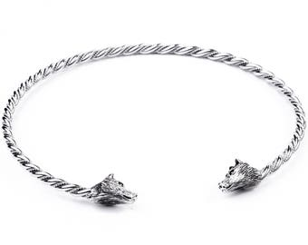 WINDALF Men Torques ~ WULF ~ Ø 15 cm - Viking Choker with 2 Wolves - Handmade from 925 Sterling Silver (hs24-2)