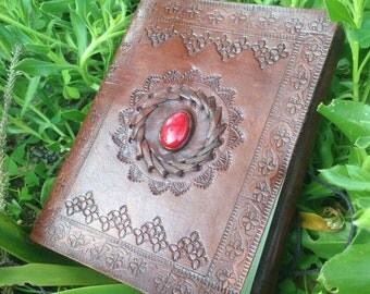 Leather Journal - Red Agate Leather Book - Leather Notebook - Leather Bound Diary - Medieval Journal - Handmade Embossed Leather Scketchbook