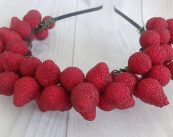 Red berry crown,forest wedding accessory,rustic bride,raspberry crown,raspberry for hair,woodland bridal wreath,berries tiara,summer berries