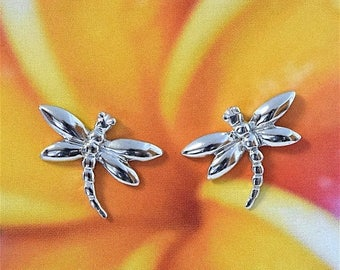 Summer Sale Sterling Silver Dragonfly Stud Earring, Hawaiian Jewelry, US Free Shipping! Gifts for Her