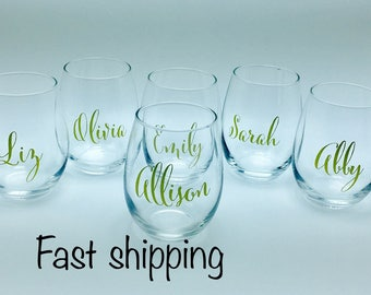 Sets of 5, 6, 7 or 8 Personalized stemless wine glasses (font style 1)