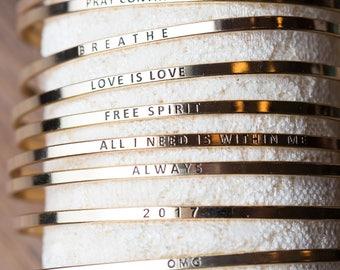 Sweet Phrase Bangles, gold silver and rose gold bangles, bridesmaid gifts, you're my person, hakuna matata, sisters