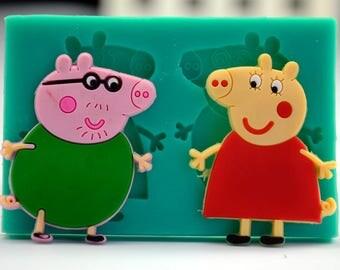 Little Piggy Silicone Cake Molds Fondant Piglet Pig Candy Moulds Piggie Decorating  9x60.8cm