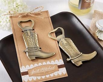 Set of 24 Just Hitched Cowboy Boot Bottle Opener, Unique Party Favor or Wedding Favor, Bachelor Party Favor, Baby Shower favor