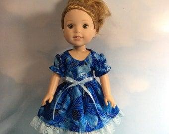 "Metallic royal dress fits 14.5"" Wellie Wishers doll"