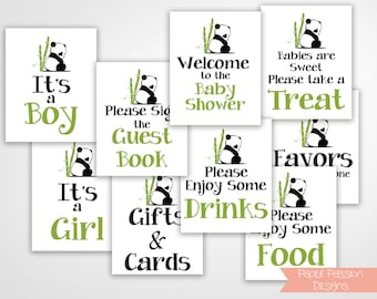 Panda Theme Sign Package ~ Bundle of 9 Signs ~ Panda Bear Baby Shower Signs ~ Gender Neutral Baby Shower  ~ Printable Template  0034