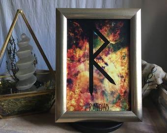 13 x 18 cm runes [energy picture] framed Raidho Rune / Futhark runes / witch / Wiccan / pagan / Nordic / spiritual