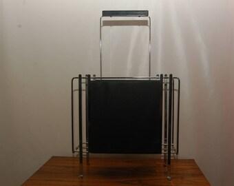 Magazine rack chrome with imitation leather coffee table