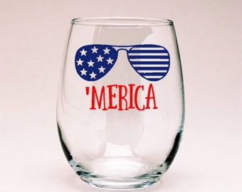 Merica Fourth of July Patriotic Wine Glass