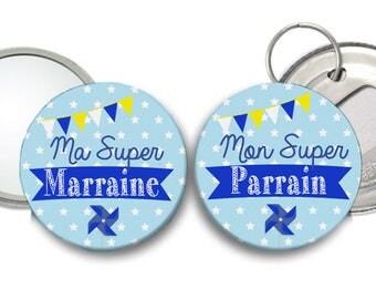 miroir Super Marraine et décapsuleur Super Parrain - thème moulin à vent bleu ciel