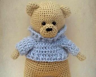 Bear amigurumi toy Crocheted animal toy Teddy bear Crochet beige bear Gift for newborn baby Softy bear
