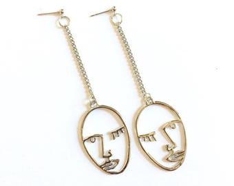Silver Winking Face Drop Earrings